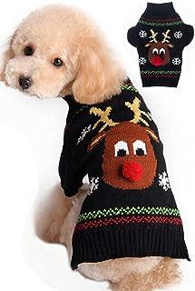 fogohill Dog Cute Christmas Cartoon Reindeer Pet Cat Winter Keep Warm Sweaters Knitwear Coat