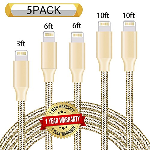 Ulimag Phone Charger 5Pack 3FT 6FT 6FT 10FT 10FT Nylon Braided USB Charging & Syncing Cord Compatible with Phone XS/MAX/XR/X / 8/8 Plus / 7/7 Plus / 6s / 6s Plus /6 6 Plus (Gold)