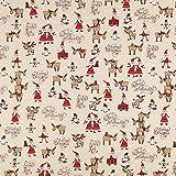 Fabulous Fabrics Halbpanama Weihnachtsmänner – Natur —