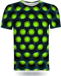 تي شيرت رجالي ثلاثي الأبعاد بأكمام قصيرة صيفي كاجوال بياقة مستديرة قمصان رياضية شخصية مضحكة (اللون: F، بحجم M: