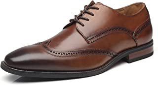 Men's Dress Shoes Leather Oxford Wingtip Lace up Business Casual Comfortable Dress Shoes for Men