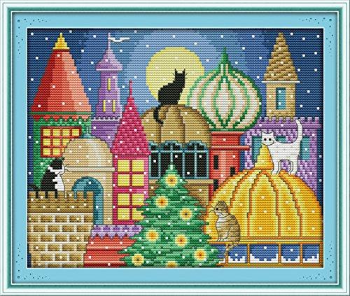 YEESAM ART Neu Kreuzstich Stickpackung - Katze Stadt Schloss 14 CT 30×25 cm DIY Stickerei Set Weiß Segeltuch - Kreuz Nähen Handarbeit Weihnachten Geschenke Cross Stitch Kit