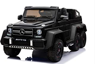 Dorsa Licensed Mercedes Benz AMG G63 6x6 Kids Ride On Car with 2.4G Remote Control, 12V 4 Motors, Stroller Function, Openable Doors, Spring Suspension, USB MP3 Player & Bluetooth Function -Black