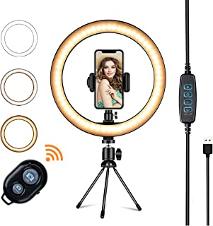 """LED Ring Light with Tripod Stand,VillSure 10"""" Selfie Ring Light Makeup Ring Light for YouTube Video, Photography, Shooting with 3 Light Modes and 10 Brightness Level Compatible with iPhone/Android"""