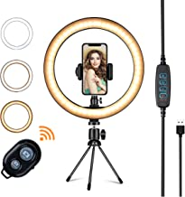 "LED Ring Light with Tripod Stand,VillSure 10"" Selfie Ring Light Makeup Ring Light for YouTube Video, Photography, Shooting with 3 Light Modes and 10 Brightness Level Compatible with iPhone/Android"