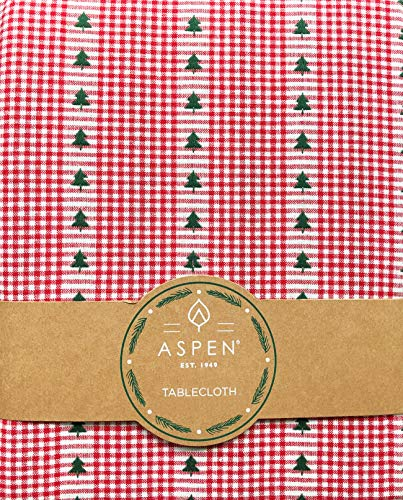 Aspen Home Tablecloth Green Christmas Trees on a Red and White Stripe Checked Background, 60 Inches x 102 Inches