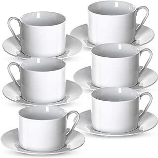 Klikel Tea Cups And Saucers Set | 6 Piece White Coffee Mug Set | 6 Inch Plates And 8.5oz Mugs | Cappuccino Cup And Saucer Set For Latte Café Mocha Espresso Bar