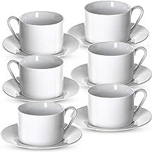 Klikel Tea Cups And Saucers Set - 6 Piece White Coffee Mug Set - 6 Inch Plates And 8.5oz Mugs - Cappuccino Cup And Saucer ...