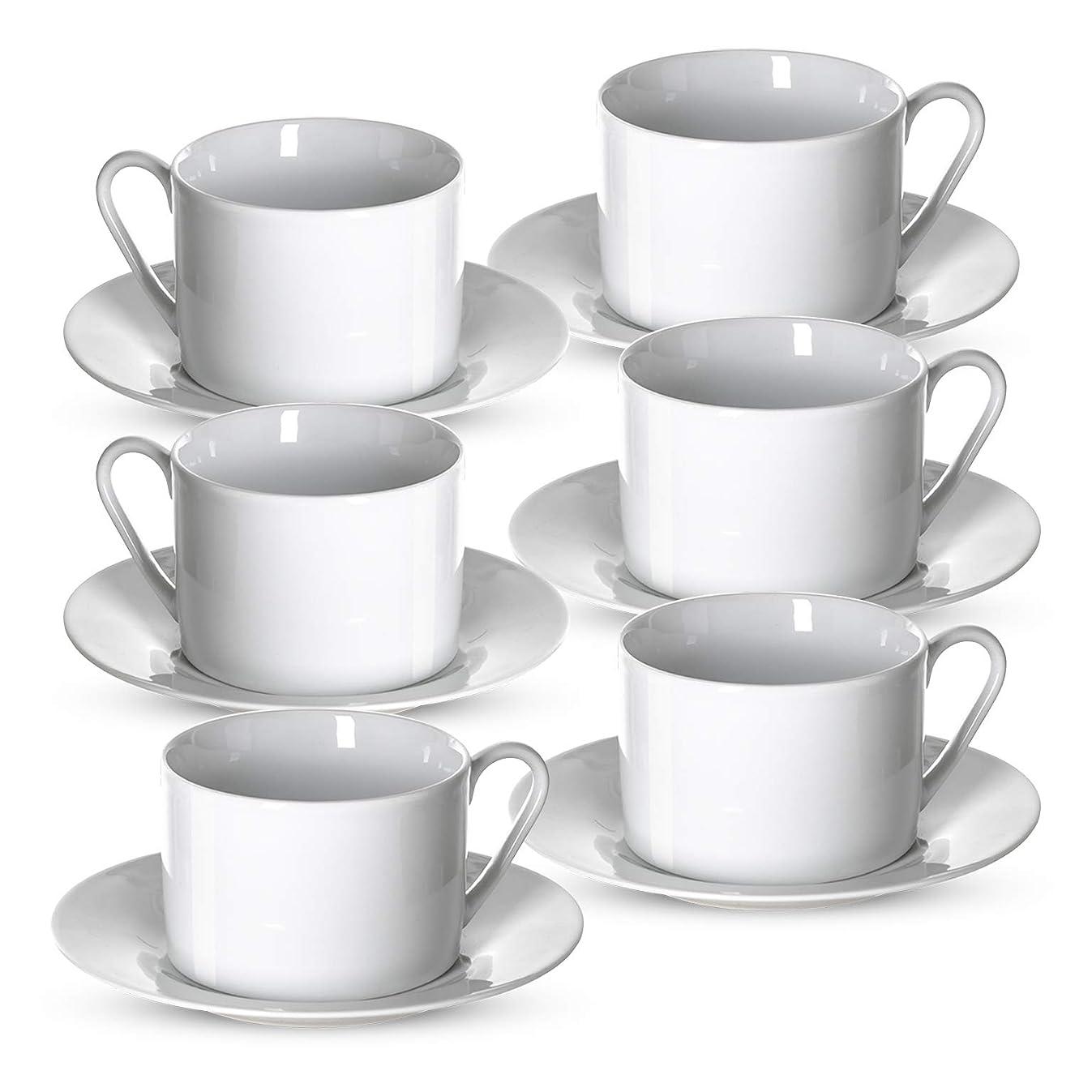 Klikel Tea Cups and Saucers Set | 6 Piece White Coffee Mug Set | 6