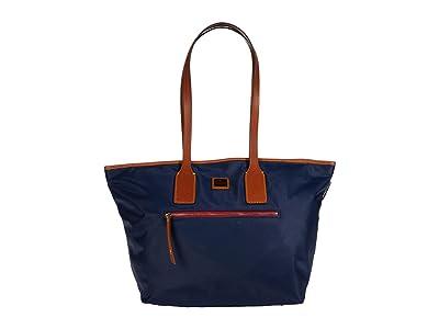 Dooney & Bourke Camden Fielding Tote (Navy/Brandy Trim) Handbags