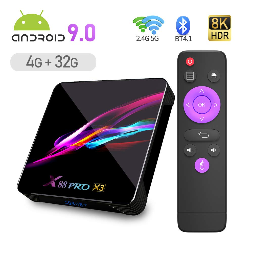 X88 PRO X3 Android 9.0 TV Box,4GB RAM 32GB ROM S905X3 Quad Core 64bit Cortex-A55 Support 2.4/5.0GHz Dual Band WiFi BT4.1 3D 8K Ultra HD H.265 10/100/1000M Ethernet HDMI2.1 Smart TV Box: