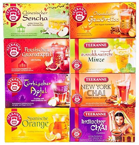 Teekanne Ländertee-Set (New York Chai, Persicher Granatapfel, Orientalischer Gewürztee, Marokkanische Minze, Chinesischer Sencha, Türkischer Apfel, Spanische Orange, Indischer Chai)