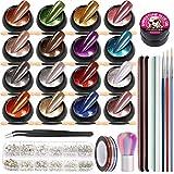16 Farben Nagelpuder Set, FANDAMEI Chrom Pigment Puder Spiegeleffekt Nagelpulver Nägel Pulver Glitzerpuder, Nail Art Pinsel, Striping Tape, Strasssteine, Klebergel, Nagelfeilen, Nagelbürste, Pinzette