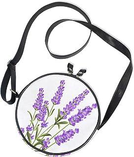 Emoya Runde Tasche, Lavendel, lila Blumen, Segeltuch, Kreis-Tasche, Umhängetasche für Damen/Mädchen