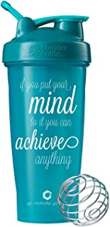 GOMOYO Motivational Quotes on Blender Bottle Brand Shaker Bottles, 20oz and 28oz Protein Shakers, Fitness Gift, Multiple Designs and Colors Available