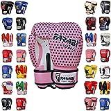 Farabi Boxing Gloves Kids Junior Muay Thai Kick Boxing Training MMA Punching Gloves (Star Pink, 4OZ)