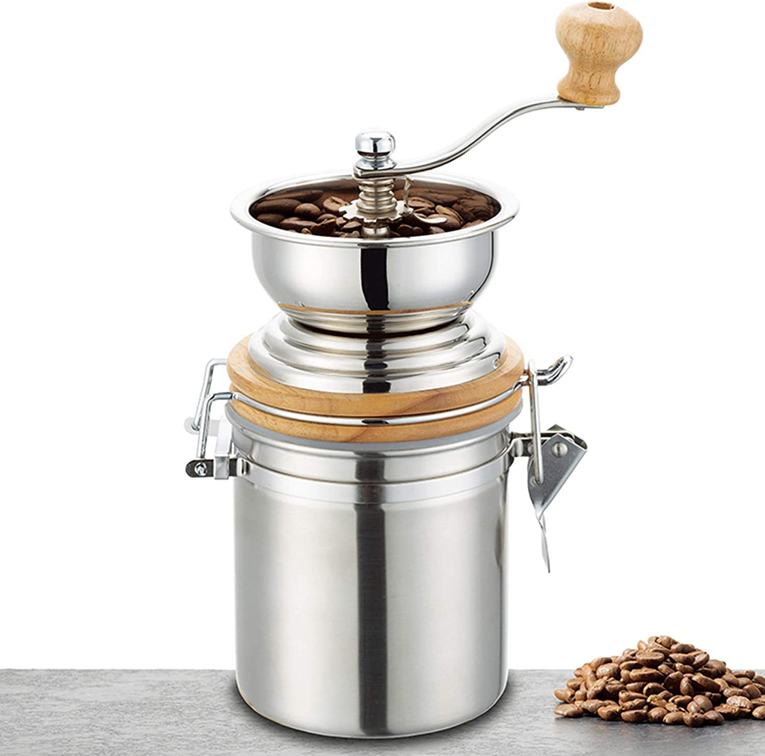shipfree Easyworkz Manual Max 58% OFF Coffee Grinder Canister Adjustabl with Airtight
