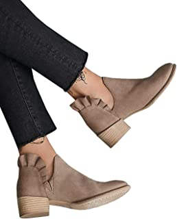 Womens Ankle Boots Slip on Pointed Toe Cutout Ruffles Chunky Low Heel Booties