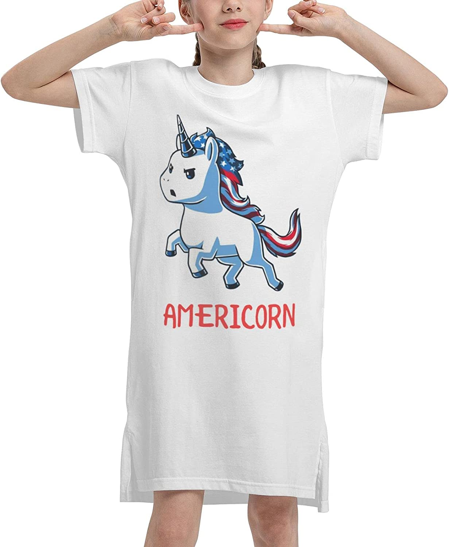 WAMEI Americorn Summer Girls Dress Casual Cotton Sleeveless Skirt Dresses for Girls Kids 7-12 Years