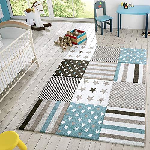 T & T Design kindertapijt, modern speelkleed, geruit, sterren, pasteltinten, in blauw en crème