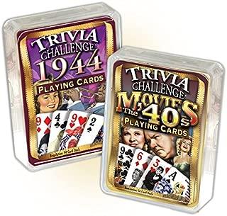 Flickback Media, Inc. 1944 Trivia Playing Cards & 1940's Movie Trivia Card Combo: Happy 75th Birthday
