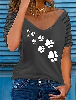QXXKJDS T Shirt Women Top Tee Print V Neck Ladies Short Sleeve Tops Summer Women S Regular T-Shirts Loose Tops Casual Fema...