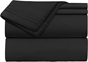 Clara Clark Premier 1800 Collection 4pc Bed Sheet Set - Full (Double) Size, Black