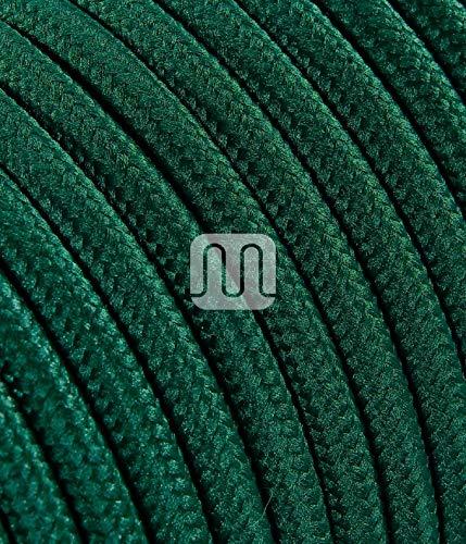 Elektrische Kabel in farbigem Stoff beschichtet. Made in Italy! 2x0, 75 Farbe: Dunkelgrün