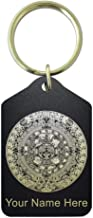 Keychain, Aztec Calendar, Personalized Engraving Included (Black Metal)