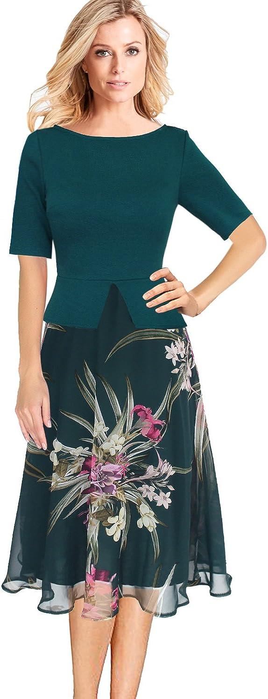 VFSHOW Womens Elegant Floral Print Peplum Work Casual ALine Midi Dress