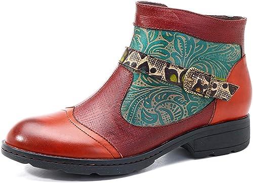 SERAPH Las damenes De Invierno De Cuero Stiefel De Tobillo Damas Casual Oxford Stiefel Vintage Flat Zip Stiefel