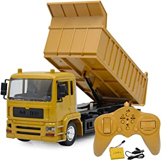 AIOJY Light and Music Remote Control Engineering Car Rechargeable Remote Control Dump Truck Dump Truck Model Boy Toy Car Children's Toy Car, The Best Birthday Gift for Kids