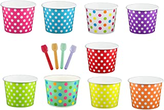 Black Cat Avenue Paper Ice Cream Cups with Spoons Combo, Polka Dot, Mix, 12 Ounce, 50 Pack