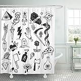 TOMPOP Duschvorhang Schlange Verschiedene Tattoo Doodle White Diamond wasserdichte Polyester Stoff Set mit Haken, Polyester-Mischgewebe, beige, 72 x 72 inches