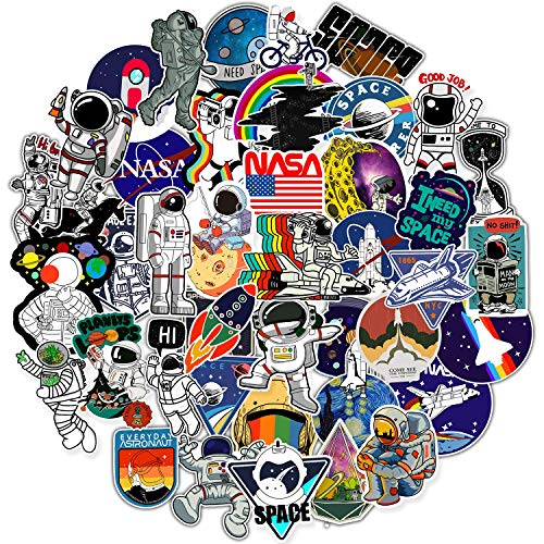 NASA Stickers for Hydro Flask, 50 pcs Cute Space Explorer Astronaut Vinyl Stickers for Hydroflask Water Bottles Laptop Computer Skateboard Car Bumper, Waterproof Decals for Kids Adult Teens Girls Boys