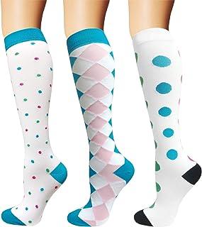 Calcetines de compresión para mujeres y hombres, 20-25 mmHg, perfectos para atletas, corredores, viajar o enfermeros, Mujer, color 06-Blanco/Blanco/Blanco, tamaño S-M