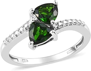 Promise Ring 925 Sterling Silver Platinum Plated Trillion Chrome Diopside Jewelry for Women Gift Size 8 Ct 1.2
