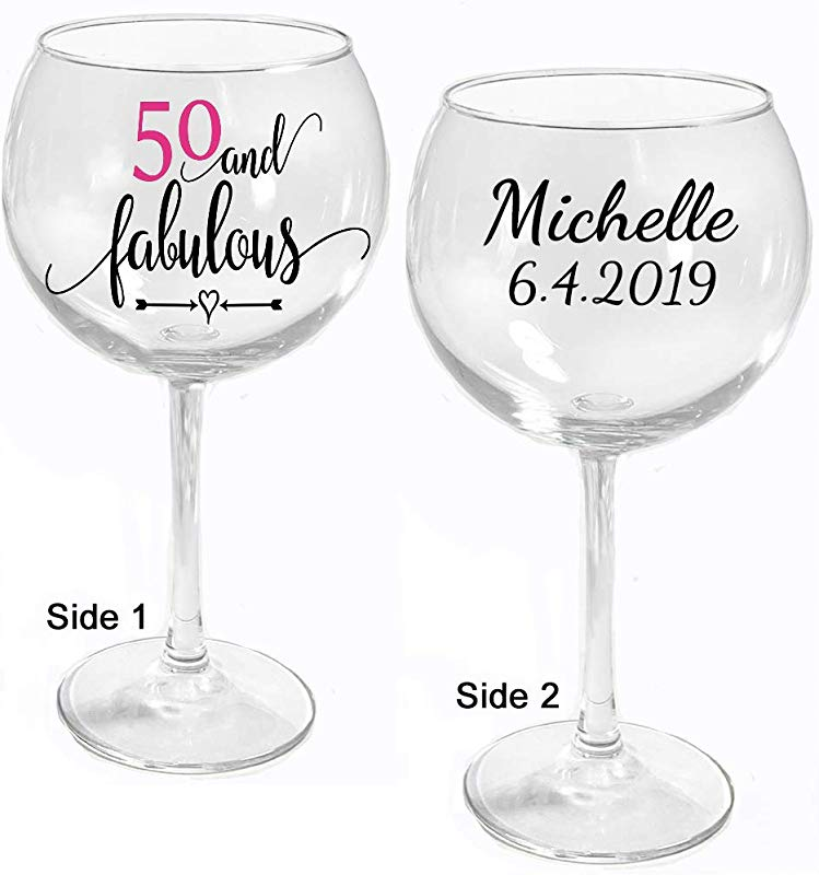 All Things Weddings PERSONALIZED Birthday Wine Glass 50 And Fabulous