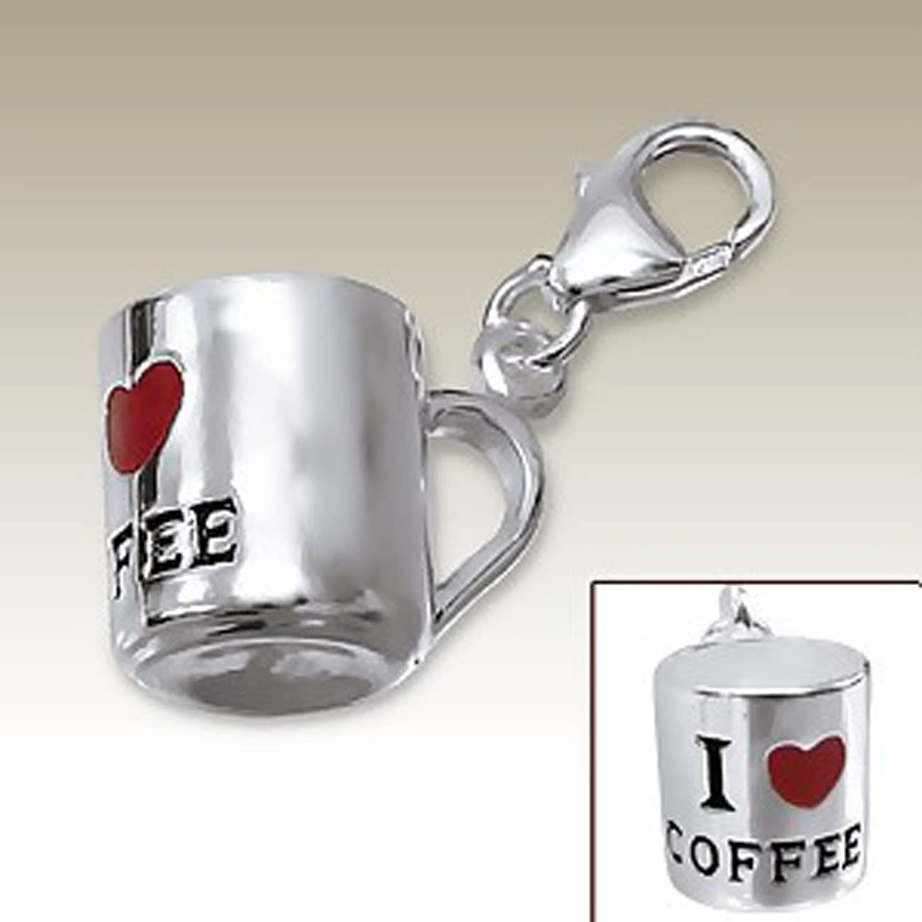 I Love Coffee Charm with Lobster Clasp 925 Max 58% OFF Sterling Silver for Alternative dealer