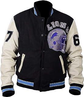 Mens Beverly Hills Cop Axel Foley Detroit Lions Vintage Sport Wollen Letterman Jas