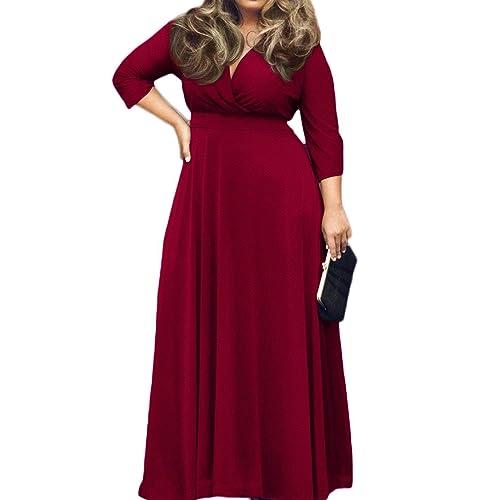 e1f3e77e91b POSESHE Women s Solid V-Neck 3 4 Sleeve Plus Size Evening Party Maxi Dress