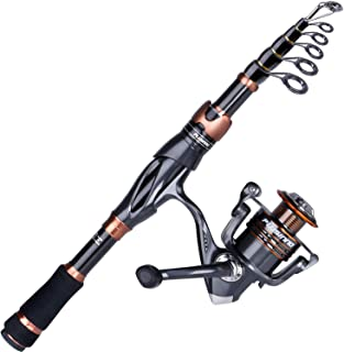 PLUSINNO Telescopic Fishing Rod and Reel Combo, Carbon...