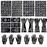 20 Sheets Henna Stencils Glitter Tattoo Kit 191Pcs Arabian Temporary Tattoo Stencils Tattoo Stickers for Face Body Paint