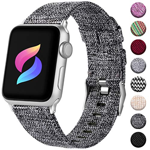 Haveda Fabric Compatible for Apple Watch Band Series 6 Series 5/4 40mm, Soft Accessories for Apple Watch SE, iwatch Bands 38mm Womens, Cloth for Apple Watch Band 38mm Series 3 2/1 Men (Dark Gray)