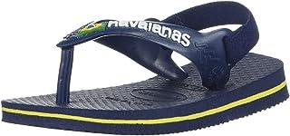 havaianas Kids' Flip Flop Sandal, Brazil Logo Coral,Navy Blue/Citrus