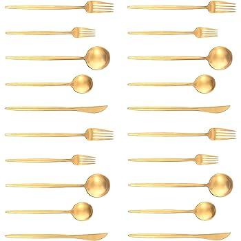 Artthome 20-Piece 18/10 Stainless Steel Flatware Silverware Dinnerware Set Cutlery Tableware Include Knife Fork Spoon (gold matte)