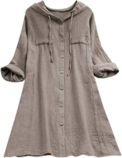 Women's Casual Button Plus Size Cotton with Pocket Tops Tee Shirt Hooded Loose Tunic Blouse