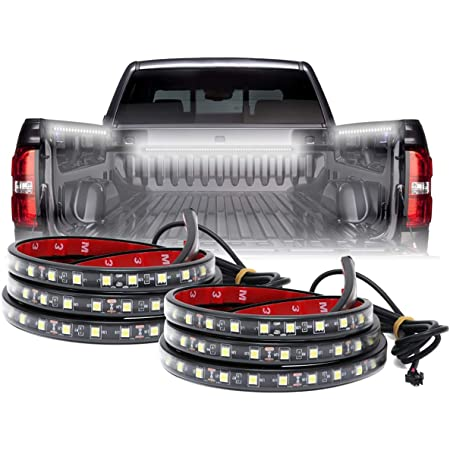 LED Truck Bed Lighting 2PCS 60Inch Flexible Strip Light Kits 12V High Brightness with On-Off Switch Fuse 2-Way Splitter Cable for Cargo Boats Pickup SUV or Others(IP65)