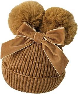 Xiang Ru Thickened Warm Knit Pom Pom Hat Cute Winter Beanie Hat Brown
