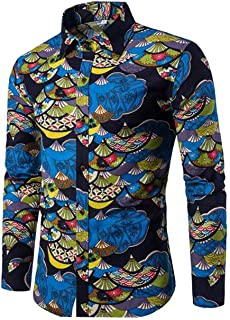 lcky Men's Buttoned Shirt Fashion Floral Shirt Casual Long Sleeve Slim Shirt Top